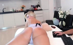 Sweet blonde in sexy lingerie plays solo