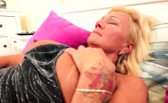 Inked busty GILF gets hairy pussy fucked