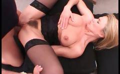 Blonde chick in black lingerie got her