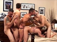 Four Gay Twinks In Foursome Sex Party