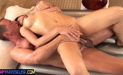 Busty asian masseuse bounces on dick
