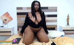 Huge titted ebony bbw Zarina fucks her fat black pussy