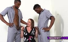 Busty curvy milf interracial threesome with big black cocks