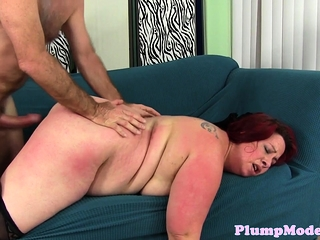 Plussize redhead screwed and fed with cock