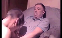 Young Skinhead girl sucking off an old guy
