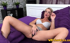 Blonde wets the bed with her pussy juice