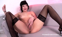 Amateur German cutie plays with her hairless pussy