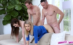 Grae and Abby do a little convincing on their horny dads