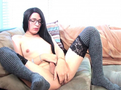 Solo Stockinged Shemale Pulls Her Dick