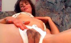 Horny mature brunette gets wet hairy