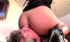 Blonde mistress fiddling with her slave