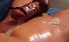 Huge hands free cum shot oiled cock electro stimulation