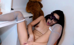 Asian teen babe in white stockings and hard dildo pussy