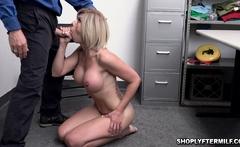 Blonde milf Amber gets caught stealing