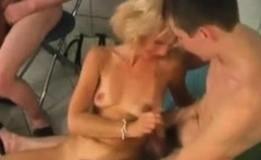 Fit Blonde Russian Milf Sauna Group Fuck Young Guys