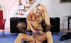 Dicksucking glam blonde gets rammed by oldman