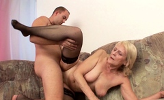 Grand Son Seduce old Saggy Tits Granny to Tabu Fuck