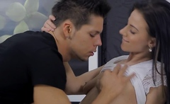 Kinky brunette russian perfection exposes cave for fuck