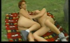 Outdoor lesbian babes sex camping