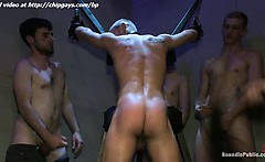 Blond Man Tied And The Guy Whips Him And Dudes Jerking